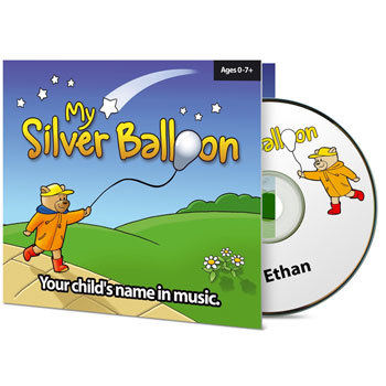 Personalised Baby Name Silver Balloon Nursery Music CD