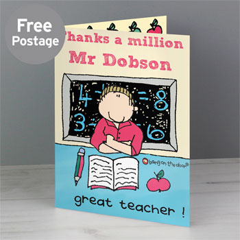 Bang On The Door Male Teacher Personalised Card
