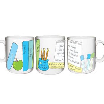 Personalised Male Teacher Books-Themed China Mug