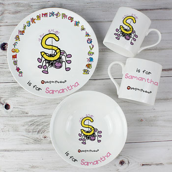 Personalised Animal Alphabet Girls China Breakfast Set
