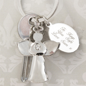 Silver Plated Diamante Angel Keyring With Engraved Tag