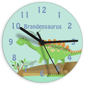 Boy's Blue Personalised Glass Dinosaur Wall Clock