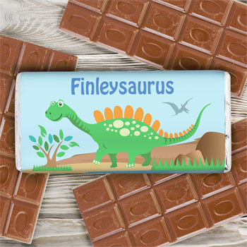 Boy's Personalised Dinosaur 100g Milk Chocolate Bar