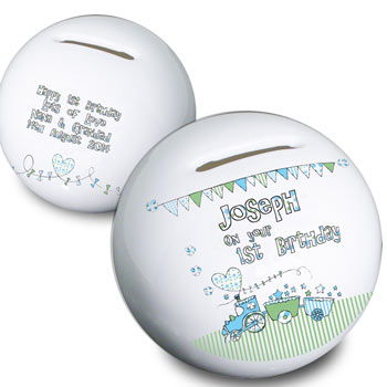 Whimsical Train Boy's Personalised 1st Birthday Money Box