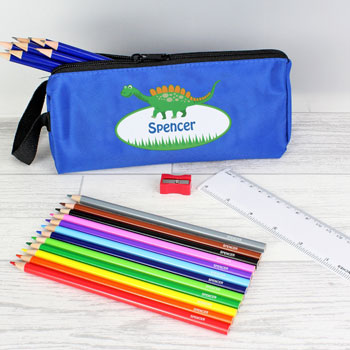 Personalised Dinosaur Pencil Case and Personalised Contents
