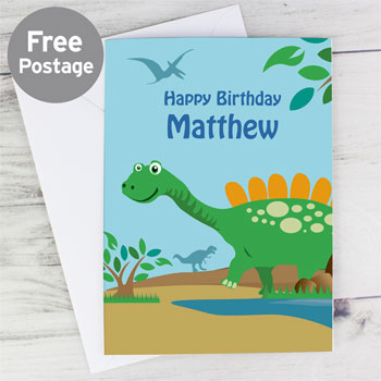 Personalised Boy's Dinosaur Birthday Card