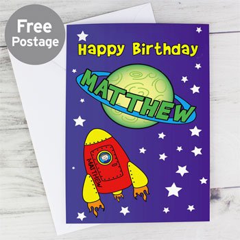 Boy's Personalised Space Themed Birthday Card