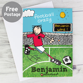 Personalised Boy's Football Crazy Birthday Card