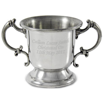Engraved Pewter Baby Loving Cup