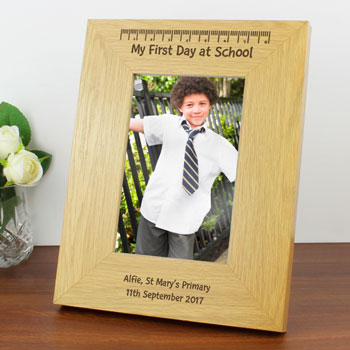 Personalised My First Day At School 6x4 Oak Finish Frame