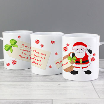 Child's Felt Stitch Santa Plastic Personalised Christmas Mug