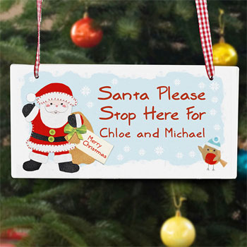 Felt Stitch Santa Stop Here Personalised Wooden Sign