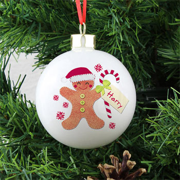 Personalised Felt Stitch Gingerbread Man Tree Bauble