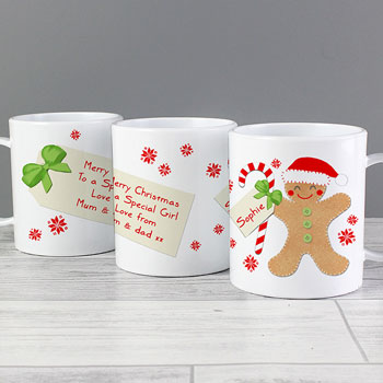 Felt Stitch Gingerbread Man Personalised Plastic Xmas Mug