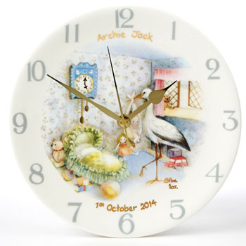 Traditional Bone China Personalised Birth Clock