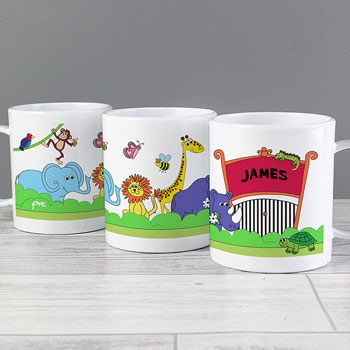 Personalised Children's Plastic Zoo Drop Proof Mug