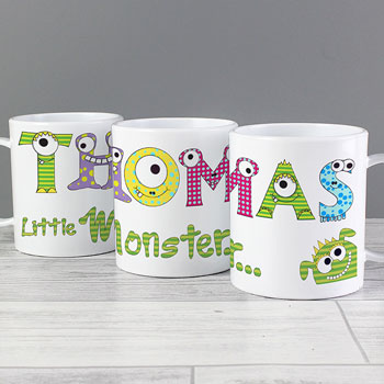Personalised Monster Alphabet Drop Proof Children's Name Mug