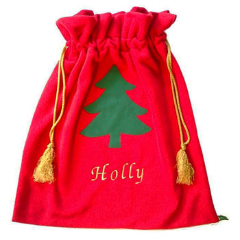 Personalised Red Fleece Child's Christmas Santa Sack
