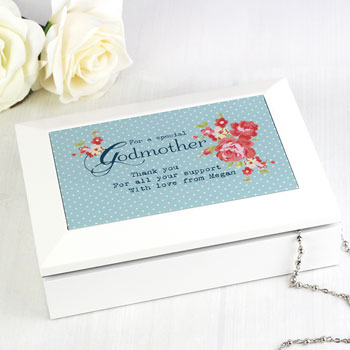 Personalised Wooden Godmother Jewellery Box Thank You Gift