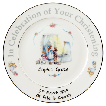 Traditional Personalised Christening Plate