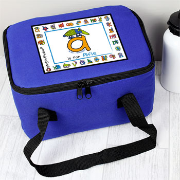 Boy's Personalised Blue Animal Alphabet Insulated Lunch Bag