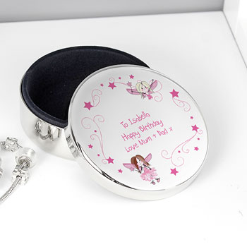 Girl's Personalised Fairy Round Silver Trinket Box