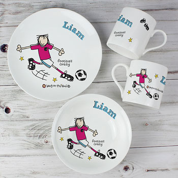 Personalised Football Crazy China Breakfast Set