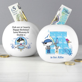 Boy's Personalised Pirate Letter China First Money Box