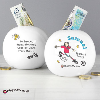 Boy's Personalised Football Crazy China Money Box