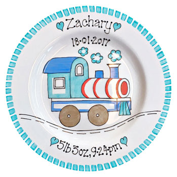 Personalised Baby Plate Train Design