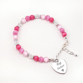 Personalised Big Sister Bracelet With Engraved Heart