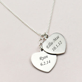 Mum's Personalised Sterling Silver Double Hearts Necklace