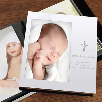 Personalised Engraved Cross Christening Photo Album