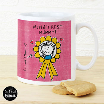 Personalised Purple Ronnie Rosette Mug For Her Mummy Gran