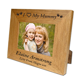 Engraved Oak Mummy Frame 6x4 inch