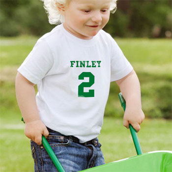 Personalised Green Name and Number T Shirt 2 to 3 Years