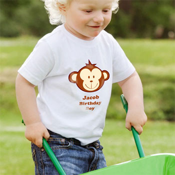 Personalised Monkey T Shirt 2 to 3 Years