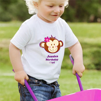 Personalised Monkey Girl T Shirt 2 to 3 Years