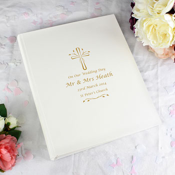 Personalised Gold Cross Traditional Interleaved Photo Album
