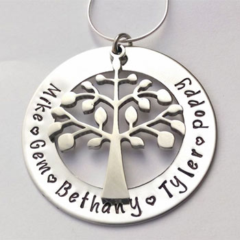 Personalised Hand Stamped Large Family Tree Mummy Necklace