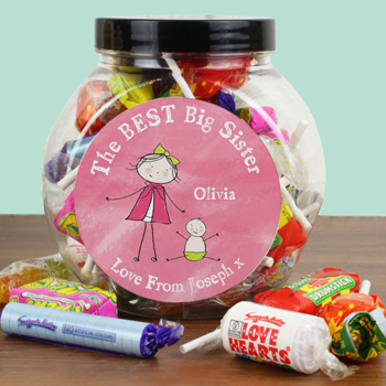 Personalised Best Big Sister Sweet Jar - Exclusive