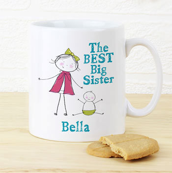 Personalised Girl's Best Big Sister China Mug