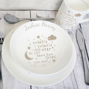 Personalised Twinkle Twinkle China Baby's Breakfast Set