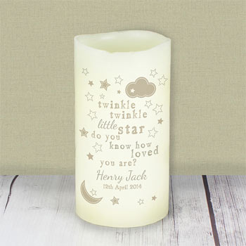 Personalised Twinkle Twinkle LED Candle Night Light