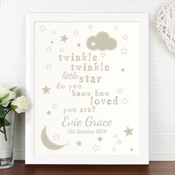Personalised Twinkle Twinkle Poster with White Frame