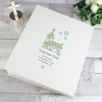 Personalised Whimsical Church Album with Sleeves Blue
