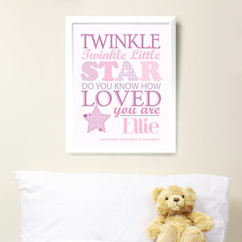 Twinkle Twinkle Girls Personalised Poster White Frame