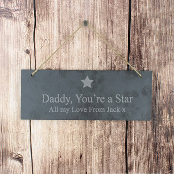 Personalised Star Motif Slate Door Sign