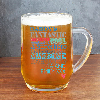 Personalised He is Glass Tankard Dad Daddy Grandad
