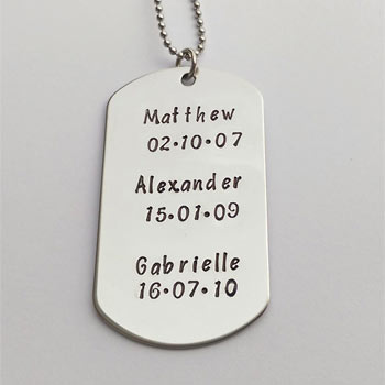 Hand Stamped Personalised Stainless Steel Daddy Dog Tag